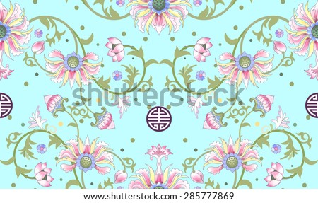 Seamless vector background. Beautiful floral pattern. Lotus flowers and leaves are painted by watercolor. Imitation of chinese porcelain painting. Hand drawing. - stock vector