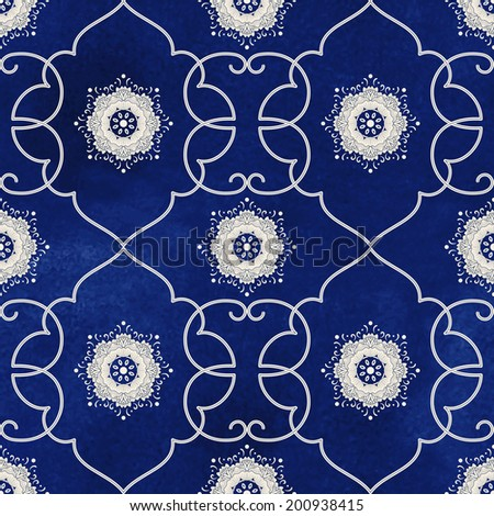 Seamless vector background. Beautiful floral patterns. Imitation of chinese porcelain painting. Blue watercolor background. Hand drawing. - stock vector