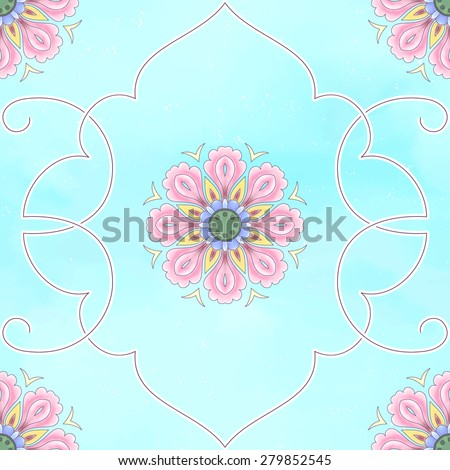 Seamless vector background. Beautiful floral patterns. Imitation of chinese porcelain painting. Blue watercolor background. Hand drawing. Lotus flowers and leaves are painted by watercolor. - stock vector