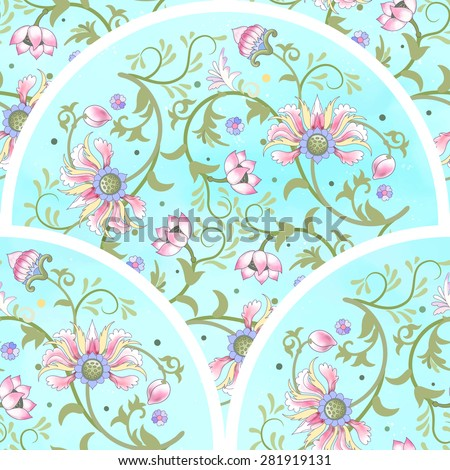 Seamless vector background. Beautiful floral round patterns. Imitation of chinese porcelain painting. Lotus flowers and leaves are painted by watercolor. - stock vector