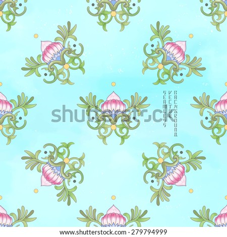Seamless vector background. Beautiful floral square pattern. Lotus flowers and leaves are painted by watercolor. Imitation of chinese porcelain painting. Blue watercolor background. Hand drawing. - stock vector