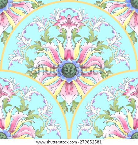 Seamless vector background. Beautiful lotus round patterns. Imitation of chinese porcelain painting. Hand drawing. - stock vector