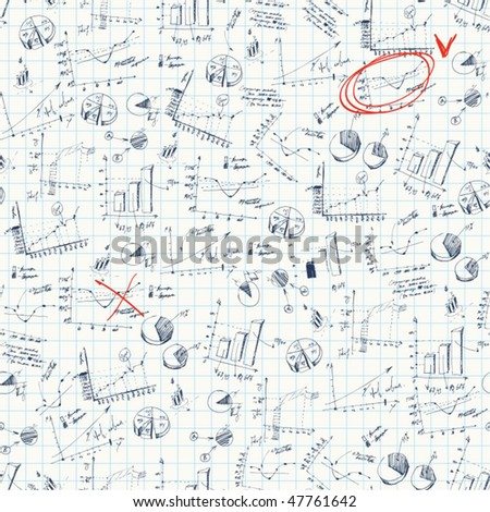 Seamless vector background. Business and finance charts on cell background. - stock vector