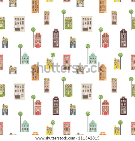 Seamless vector background. Cute architectural pattern - stock vector