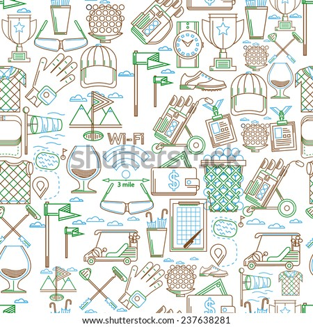 Seamless vector background for golf. Seamless vector pattern with green, blue and brown contour elements for golf on white background. - stock vector