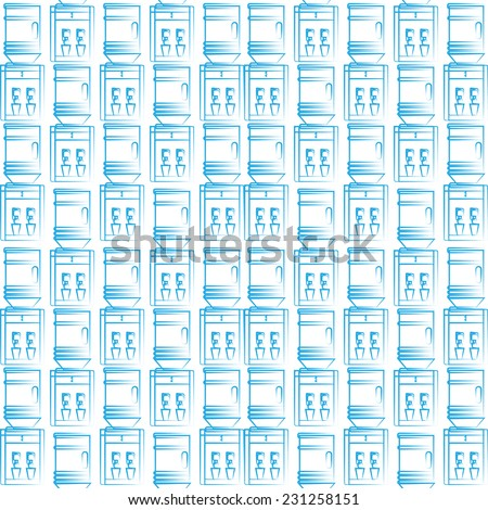 Seamless vector background for water cooler. Seamless vector pattern with blue sketch water coolers on white background. - stock vector