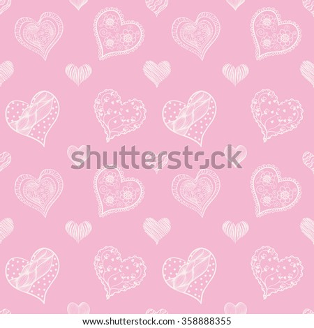 Seamless vector background - hearts.