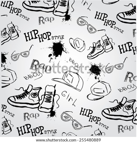 seamless vector background hip hop style accessories - stock vector