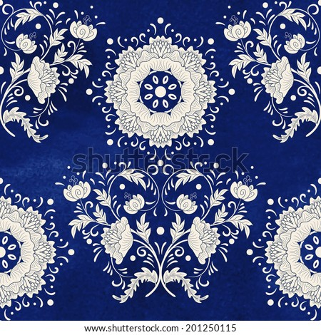 Seamless vector background. Imitation of chinese porcelain painting. Beautiful flowers and blue watercolor background. Hand drawing. - stock vector