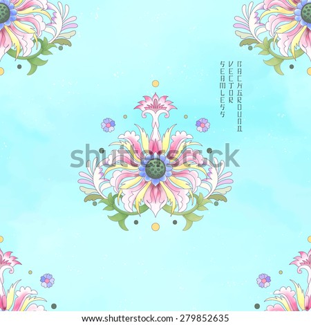 Seamless vector background. Imitation of chinese porcelain painting. Lotus flowers and leaves are painted by watercolor. Blue watercolor background. Hand drawing. - stock vector