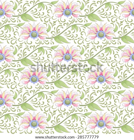 Seamless vector background. Lotus flowers and leaves are painted by watercolor. Imitation of chinese porcelain painting. - stock vector