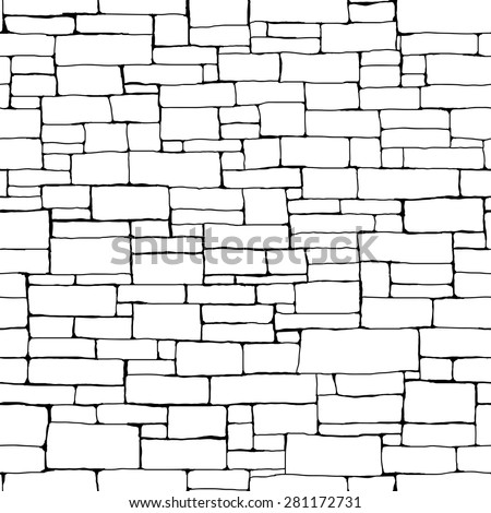 Seamless vector background of black and white stone wall ancient building with different sized bricks (drawn by ink). - stock vector