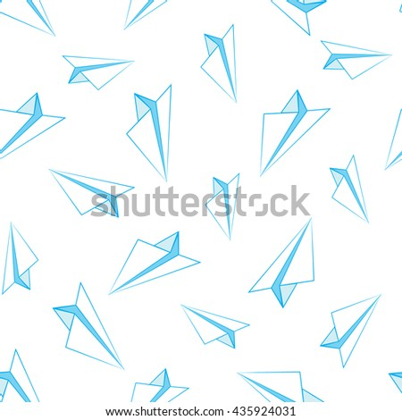 Seamless Vector Background of Paper Airplanes  - stock vector