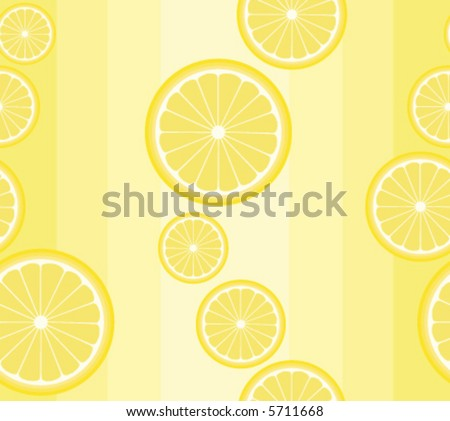Seamless vector background pattern with lemon slices on pale yellow - stock vector