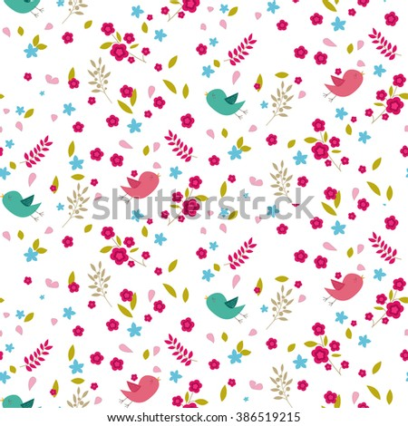Seamless vector background pattern with spring motives: birds, flowers, leaves. Great as a wallpaper or textile design