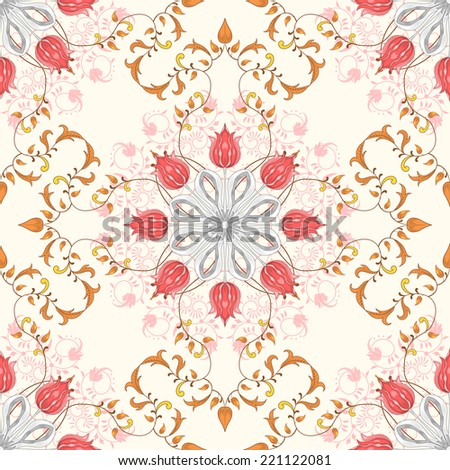 Seamless vector background. Tulip flower ornament and decor with leaves. Floral pattern with curls. - stock vector