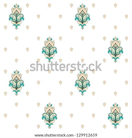Seamless vector background. Vintage damask pattern. Easy to change colors. - stock vector