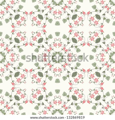 Seamless vector background. Vintage floral pattern. Aquilegia plants contain  flowers, buds and leaves. Pink and green. - stock vector