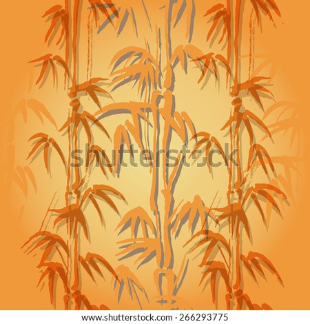 Seamless vector background with bamboo of orange color - stock vector