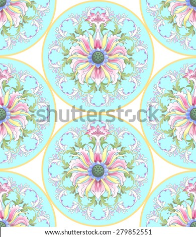 Seamless vector background with beautiful round patterns. Imitation of chinese porcelain painting. Hand drawing. Lotus flowers and leaves are painted by watercolor. - stock vector