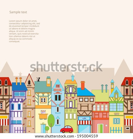 Seamless vector background with colorful houses. - stock vector