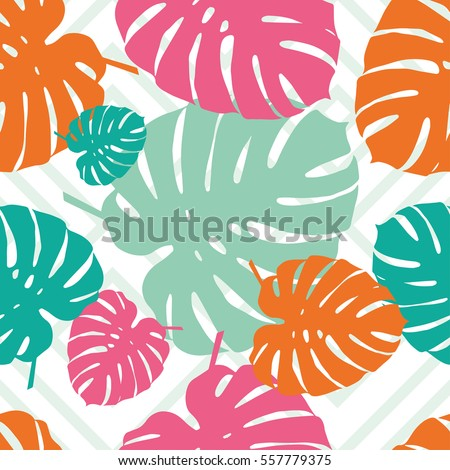 Seamless vector background with decorative leaves. Palm leaves. Print. Cloth design, wallpaper.