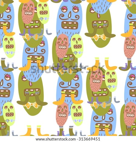 Seamless vector background with funny monsters. Vector illustration.