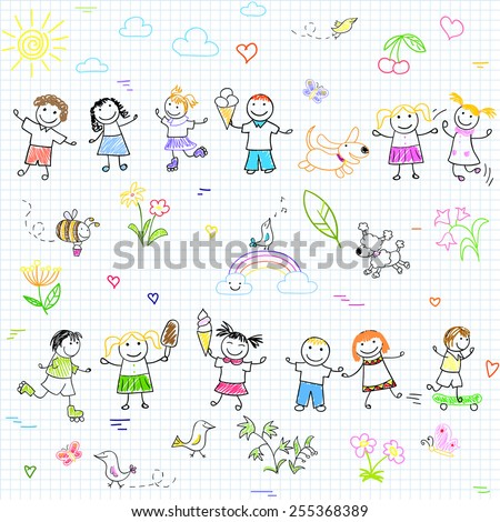 Seamless vector background with happy friends, playing outdoors. Sketch on notebook page - stock vector