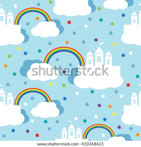 Seamless vector background with raindow castle and clouds in the blue sky. Seamless pattern, background, vector  texture