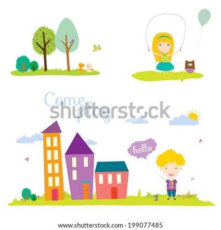 Seamless  vector banners in a cute and cartoon style with place for text. Bright background with funny animals and children. Spring and summer season. Outdoor, beach, sea, garden, sky, grass, tree. - stock vector