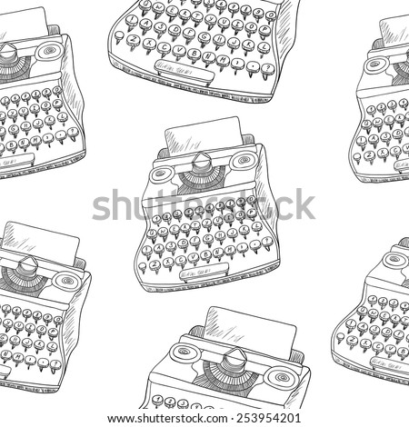 Seamless vector black and white pattern with vintage typewriters - stock vector