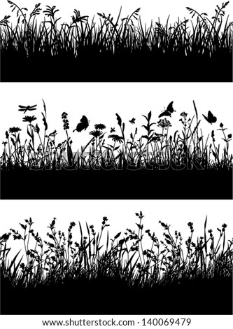 Seamless vector border of grass and flowers silhouette - stock vector