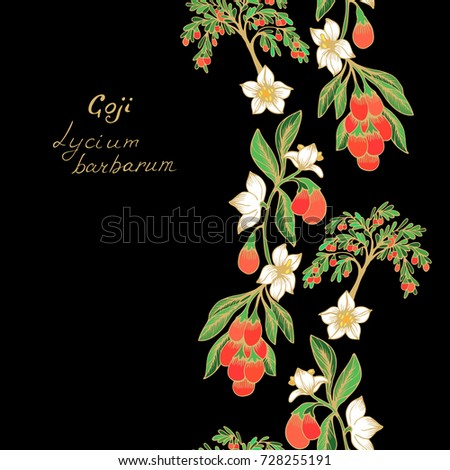 Seamless vector border  pattern with Goji fruits and flowers