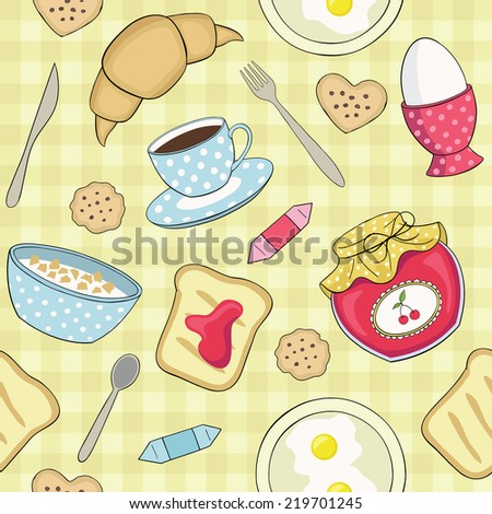 seamless vector breakfast pattern - stock vector