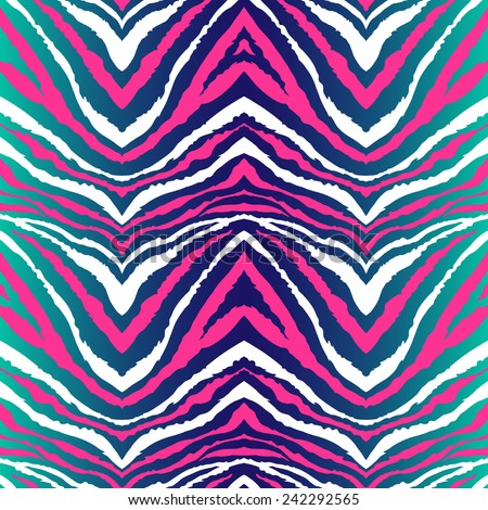 Seamless vector bright colors zebra pattern. Can be used for fabrics, wallpapers, scrap-booking, ornamental template for design and decoration, etc - stock vector