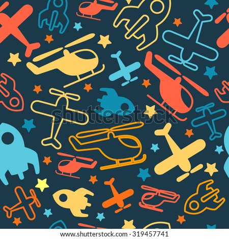 Seamless vector bright pattern for kids. Cartoon transport. - stock vector