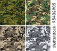 Seamless vector camouflage pack for urban, woodland, forest and disguise situations - stock photo