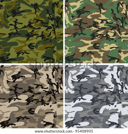 Seamless vector camouflage pack for urban, woodland, forest and disguise situations
