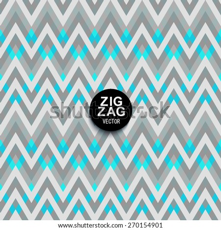Seamless vector chevron stripes pattern with shades of gray and blue line. Stylish geometric zigzag pattern for decoration. - stock vector
