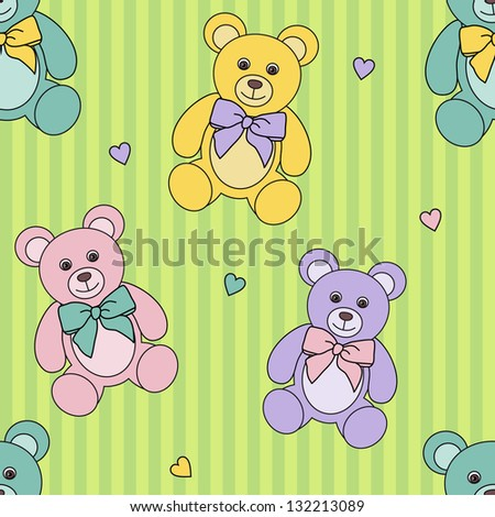 seamless vector children's pattern with  teddy bears on green - stock vector