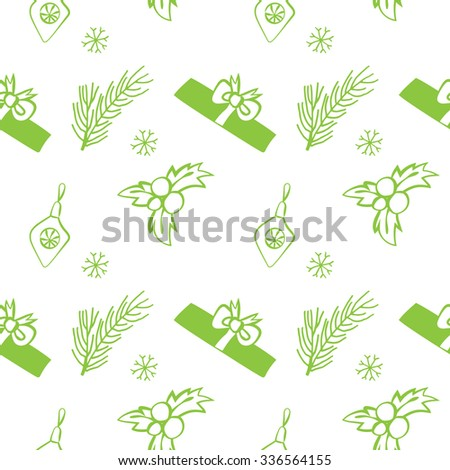 Seamless vector Christmas texture. Seamless backdrop with pine tree, gift box, christmas decoration, holly berry, snowflakes. Simple style pattern background with Christmas decoration elements. - stock vector