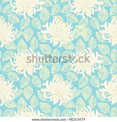 Seamless vector chrysanthemum flower pattern. Floral wallpaper design - stock vector