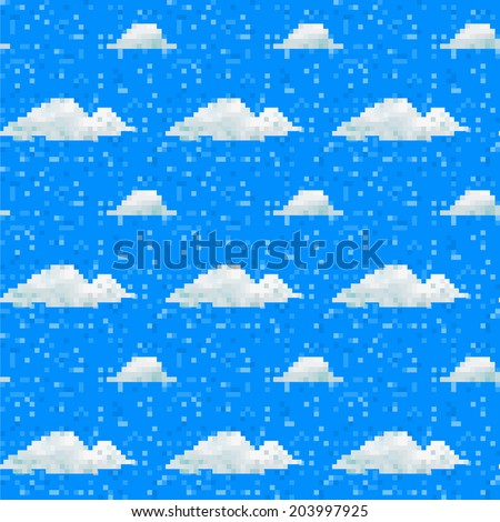 Seamless vector cloud pattern pixel art - stock vector