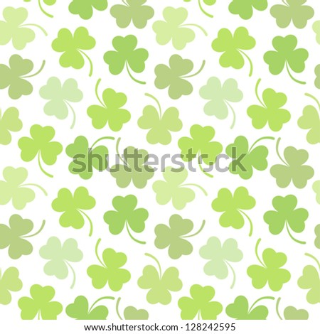Seamless vector clover background for St. Patricks Day - stock vector