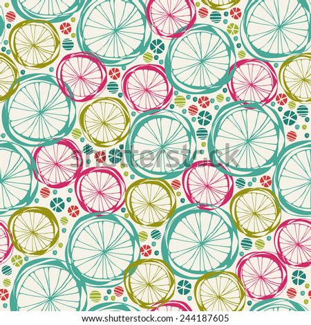 Seamless vector doodle round texture. Endless summer colorful pattern. Template for design and decoration - stock vector