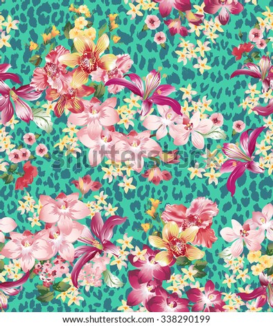 Seamless vector elegant floral pattern with orchids and lilies on a turquoise background with leopard skin imitation. - stock vector