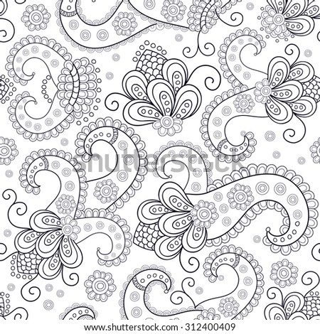 Seamless vector ethnic pattern, pattern can be used for wallpaper, pattern fills, surface textures . Black and white - stock vector