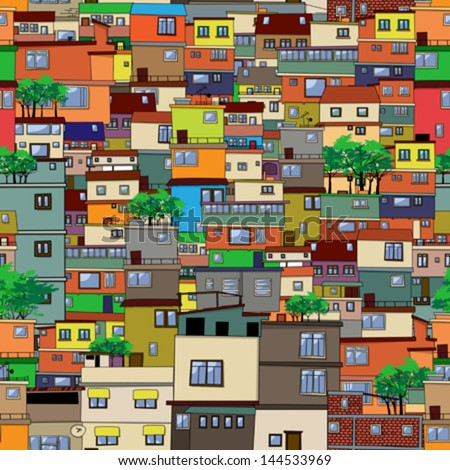 Seamless vector favela background - stock vector