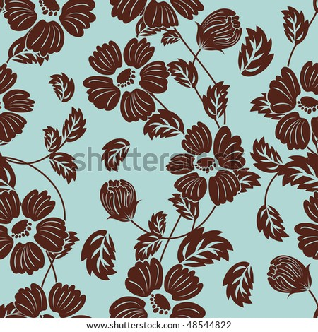Seamless vector floral background. For easy making seamless pattern just drag all group into swatches bar, and use it for filling any contours. - stock vector