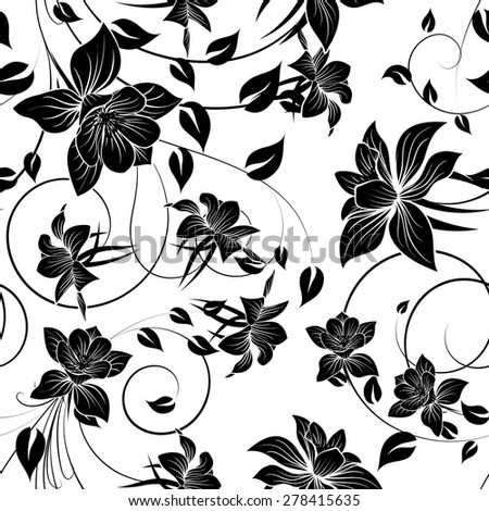 Seamless vector floral pattern. For easy making seamless pattern just drag all group into swatches bar, and use it for filling any contours. EPS 10. - stock vector